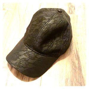 bebe Faux Leather lace-print black hat 🧢
